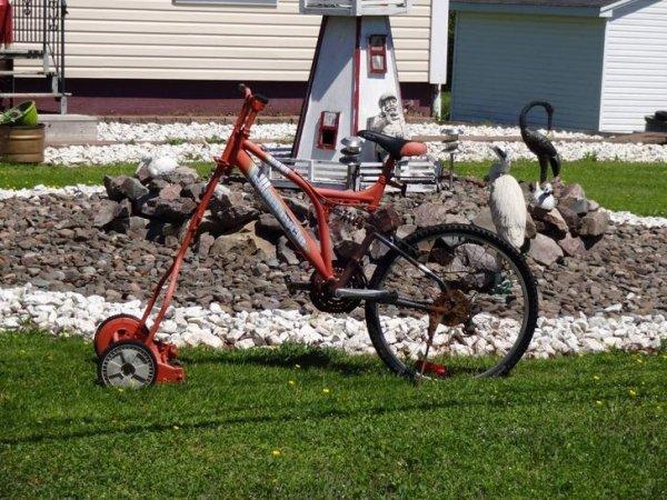 велосипед совмещенный с газонокосилкой