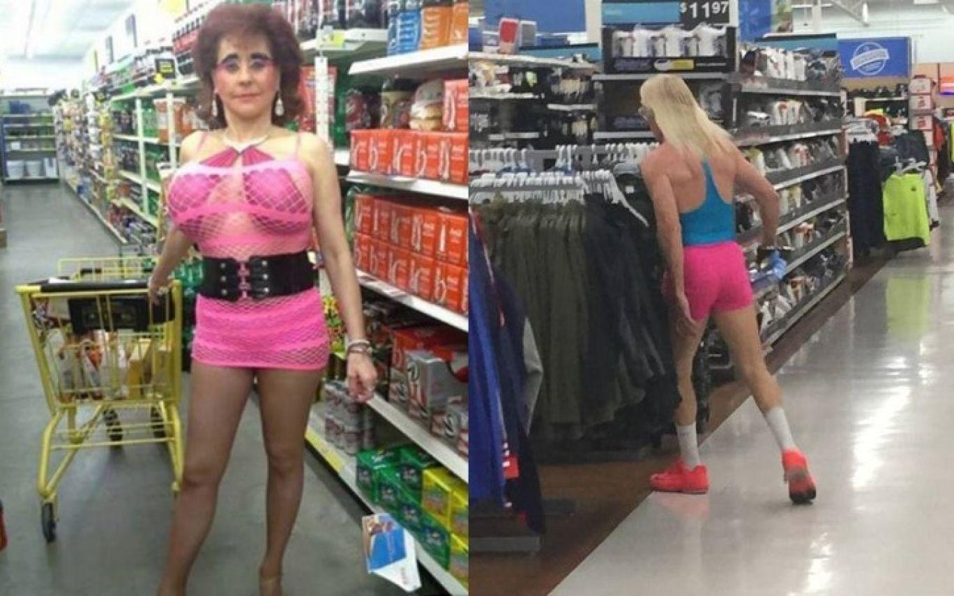 женщина в розовом в волмарте