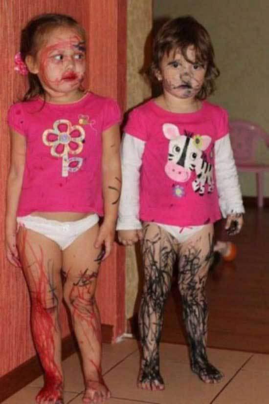 девочки разрисованные фломастерами