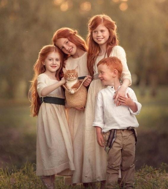 рыжие дети и кот