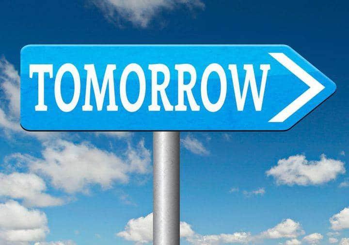 знак со словом tomorrow