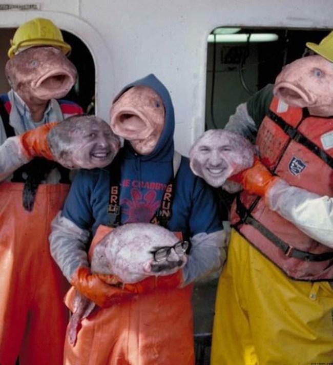 люди с лицами рыб