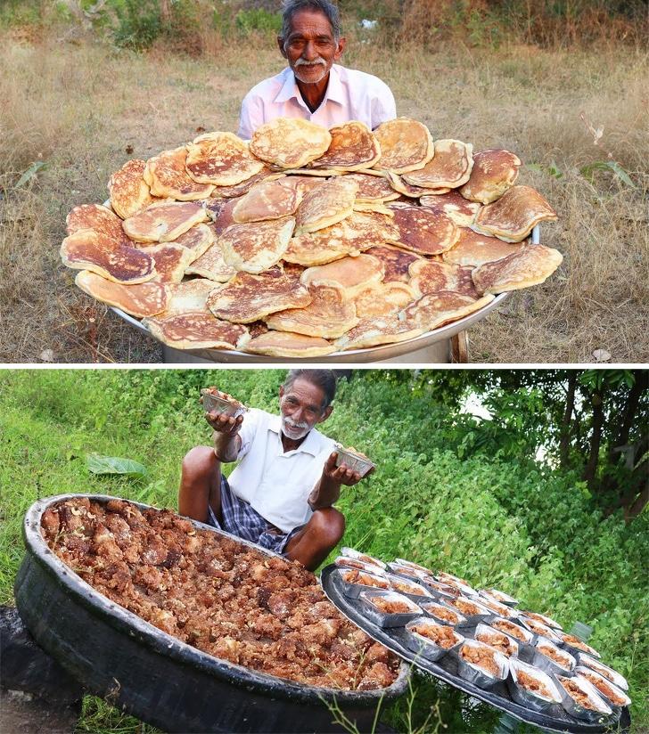 мужчина с большим количеством еды