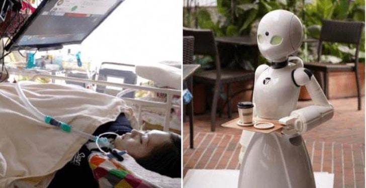 робот-официант с подносом