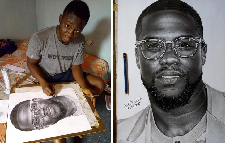 черно-белый портрет Кевина Харта