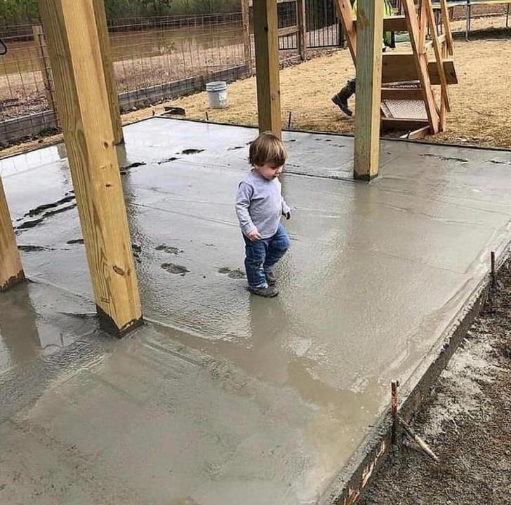 ребенок и цемент