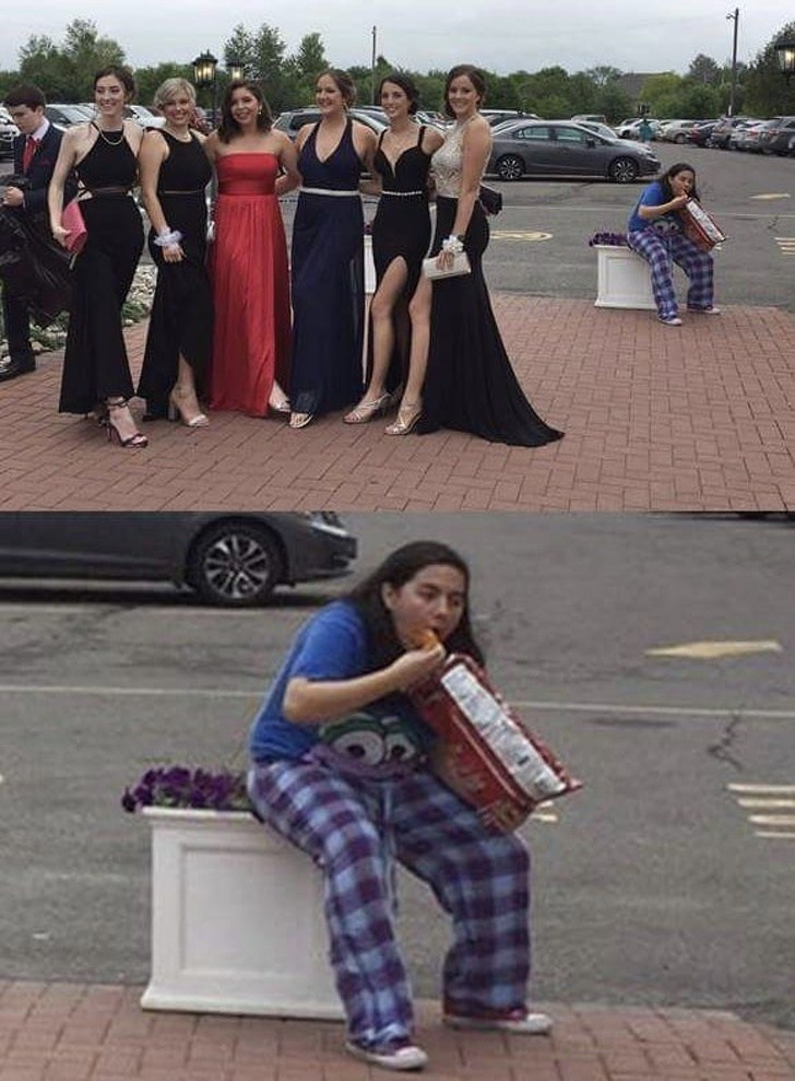 девушки в платьях и девушка с едой