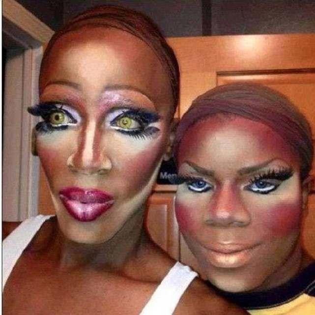 женщины с ужасным макияжем на лице