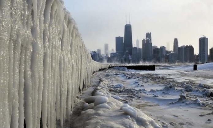 чикаго покрытый льдом