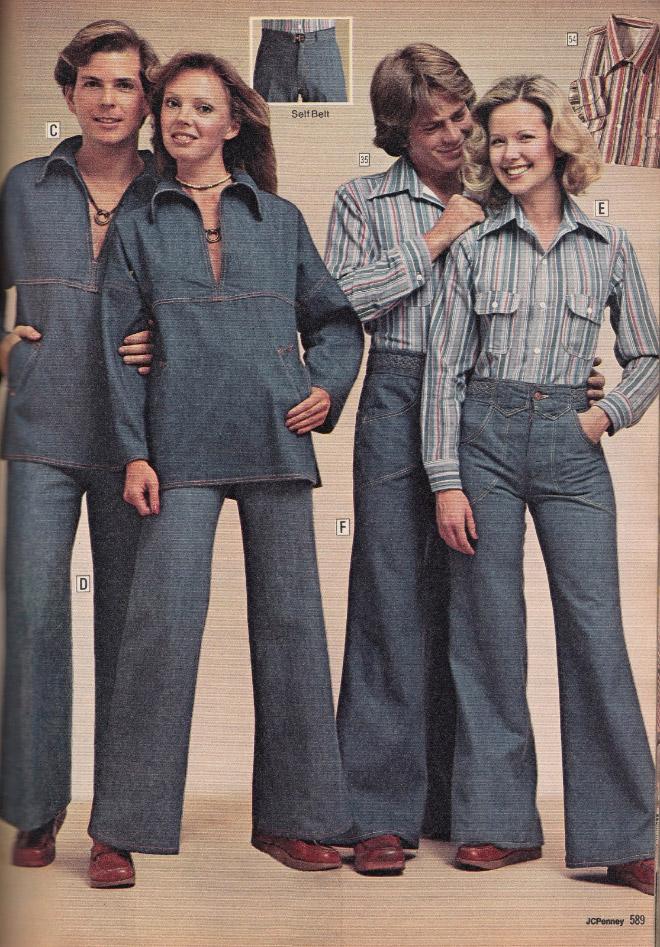 люди в клешеных джинсах