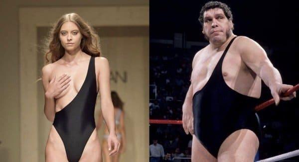 девушка и мужчина в черном купальнике