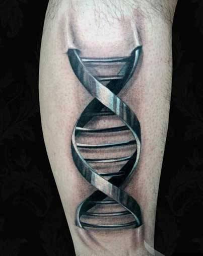 тату в виде спирали ДНК