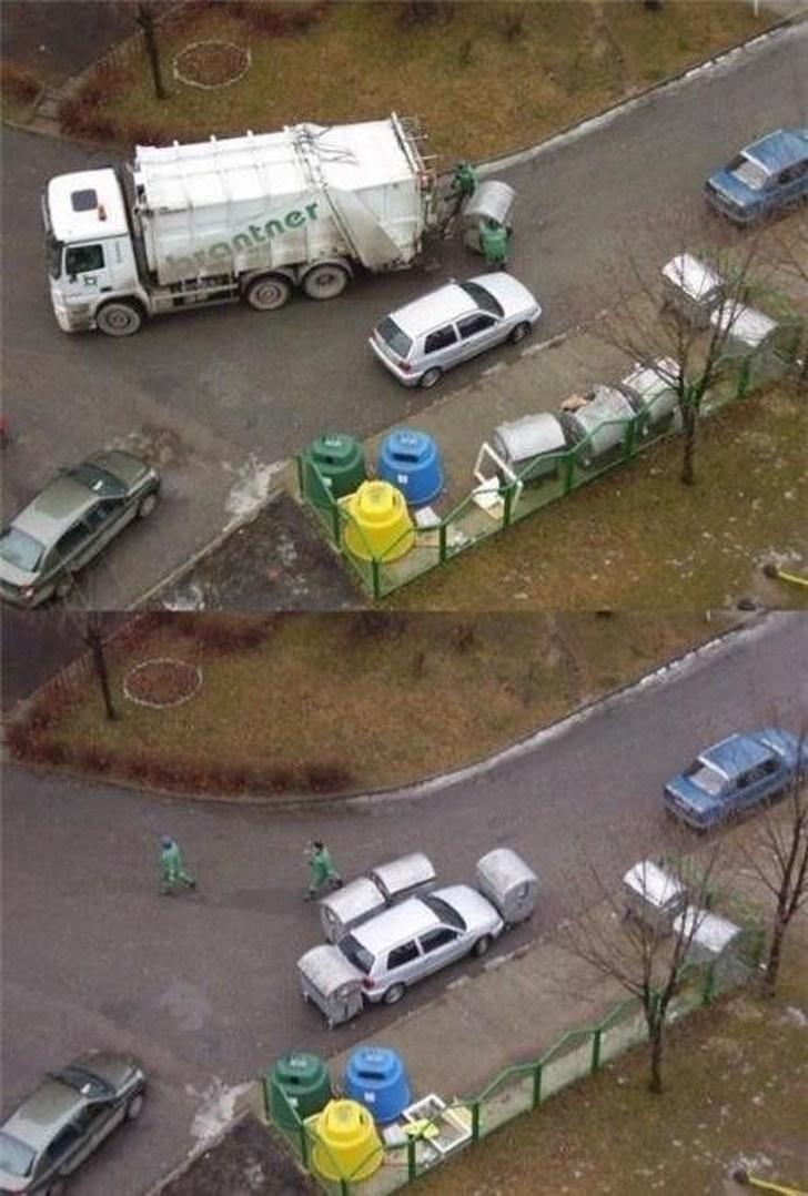 мусоровоз и машина