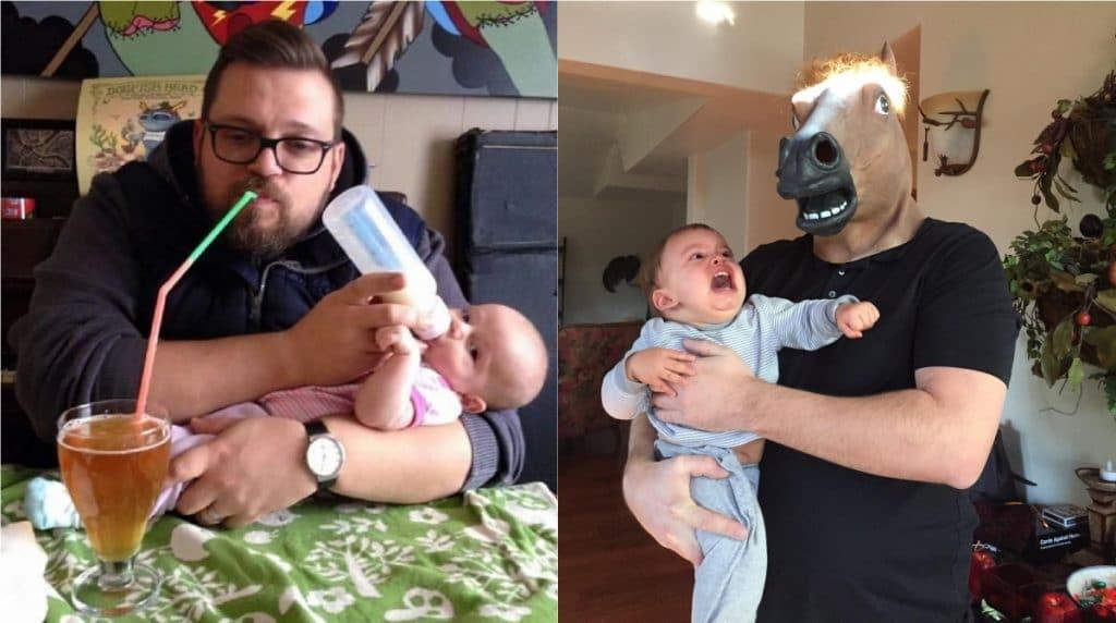 право смешного папы с детьми приколы фото яркий свет горит