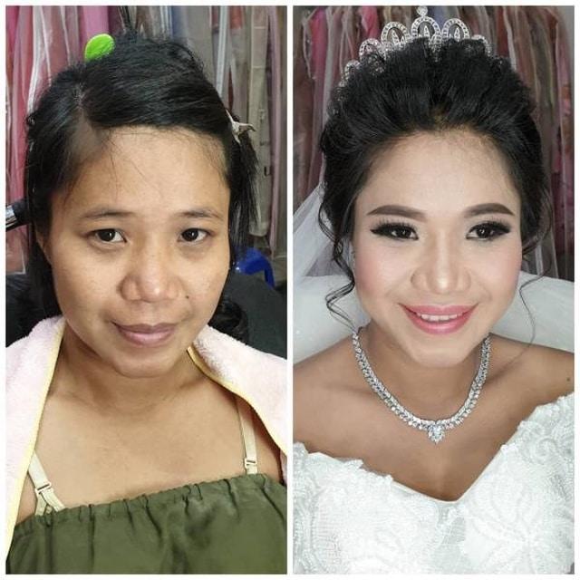 невеста с макияжем и без