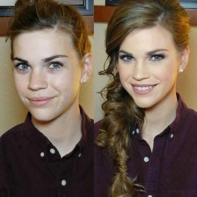 девушка с макияжем и без