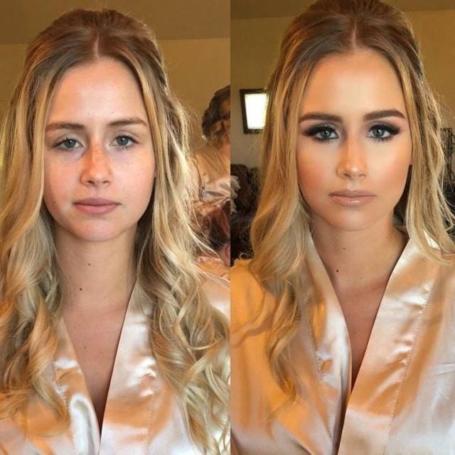 девушка со свадебным макияжем