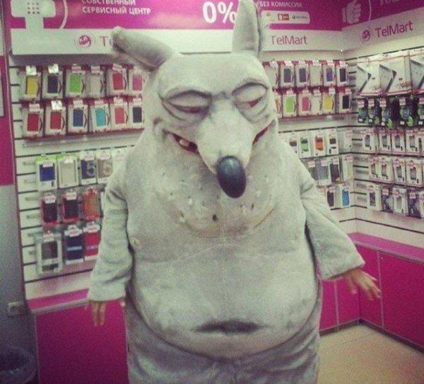 человек в костюме волка