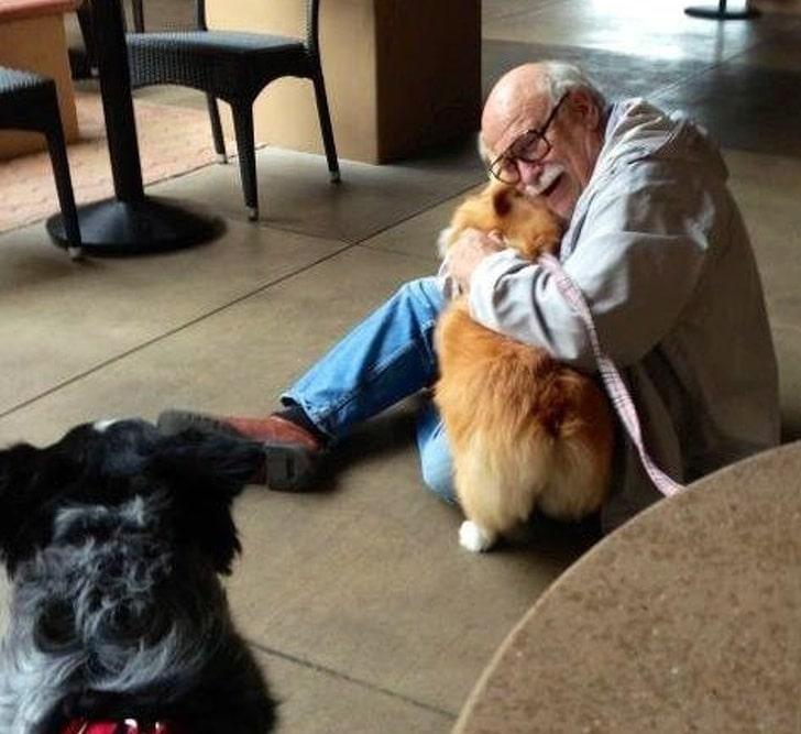 старик обнимает собаку