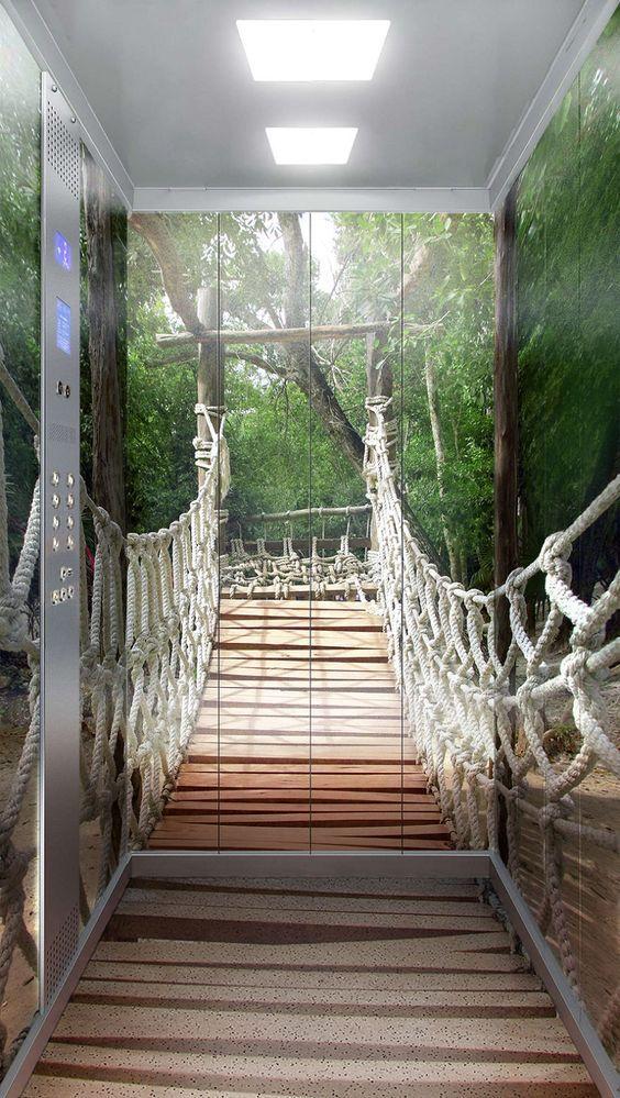 фото подвесного моста в лифте