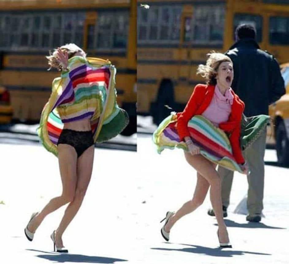 ветер и платье девушки