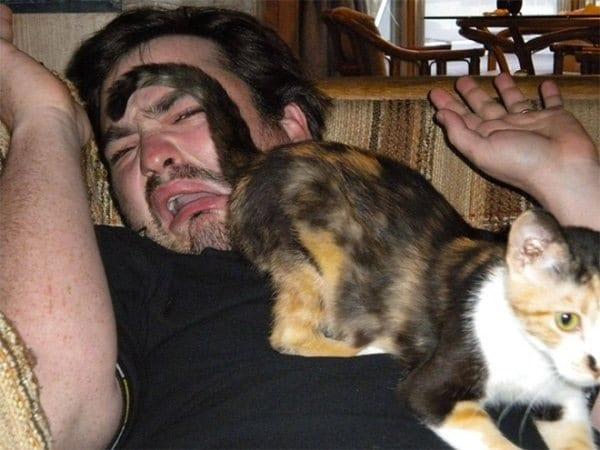 мужчина и кот