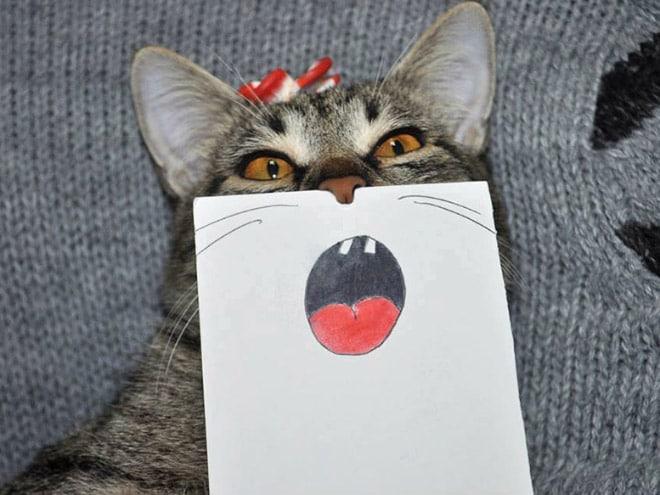 полосатый кот с нарисованным ртом