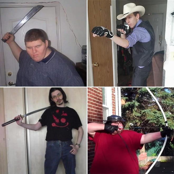 парни с оружием в руках