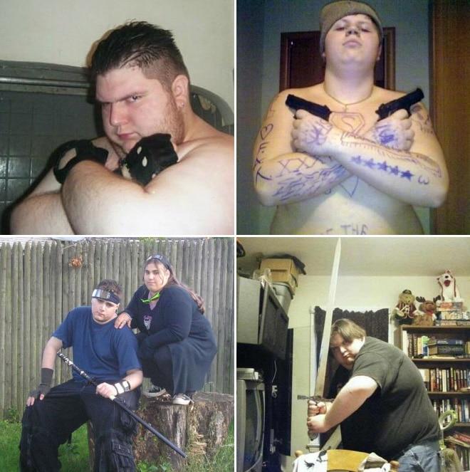 полный парень с оружием