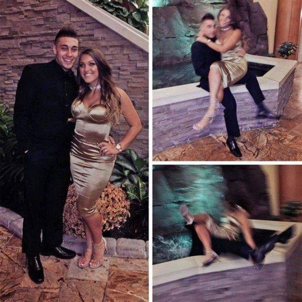 парень и девушка падают в фонтан