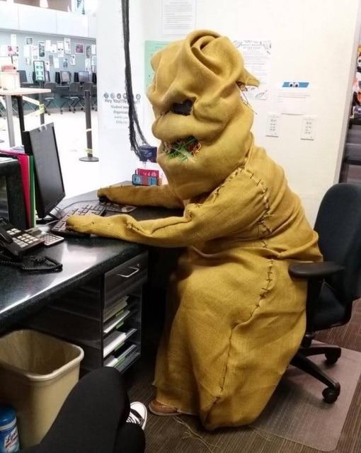 человек в мешке перед компьютером