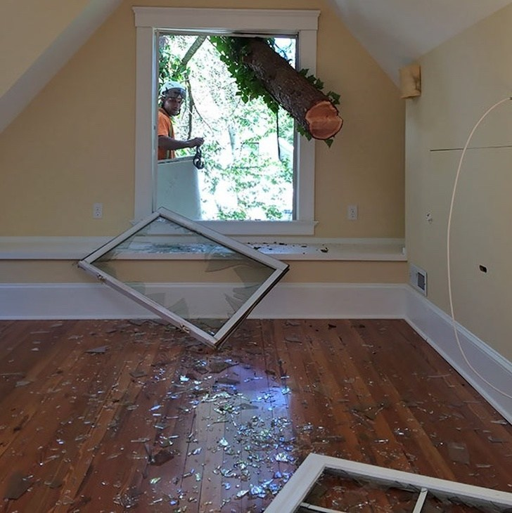 бревно выбило окно в доме