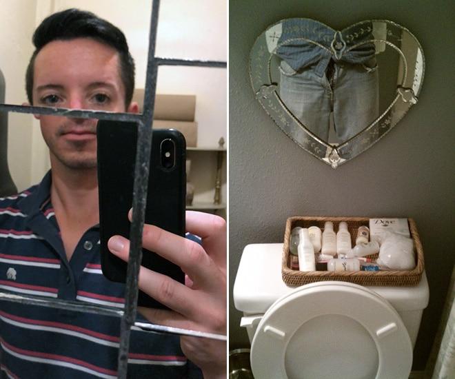 отражение парня в зеркале