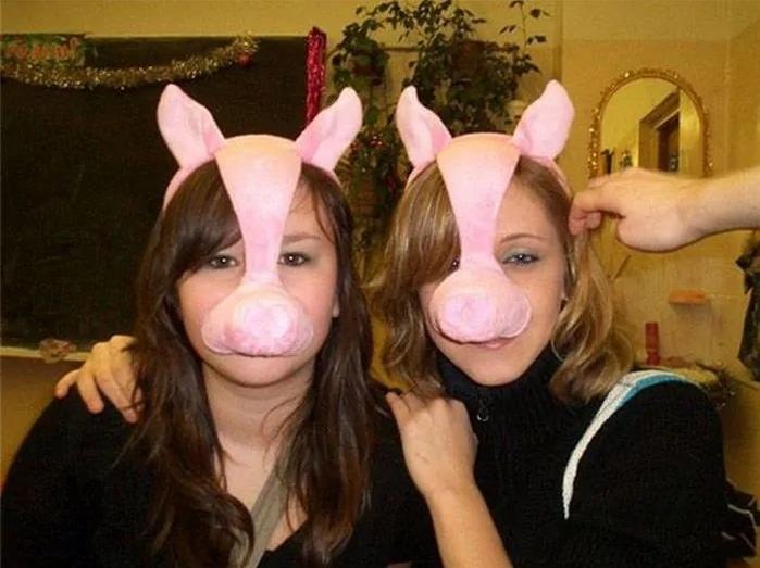 девушки в масках свиньи