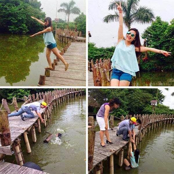 девушка упала в воду