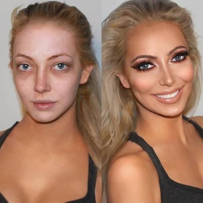 блондинка с косметикой на лице и без