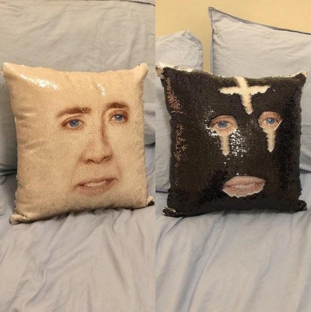 подушка с лицом николаса кейджа