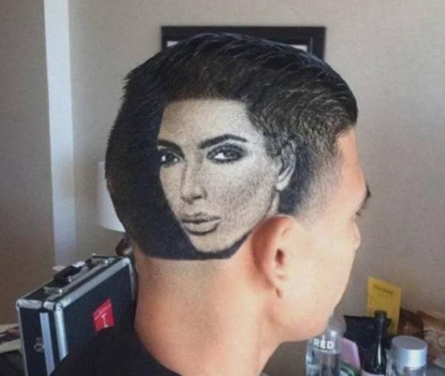 парень с портретом ким кардашьян на затылке