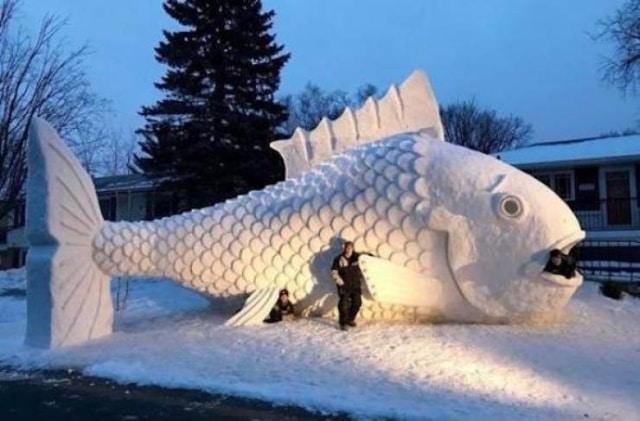 рыба из снега