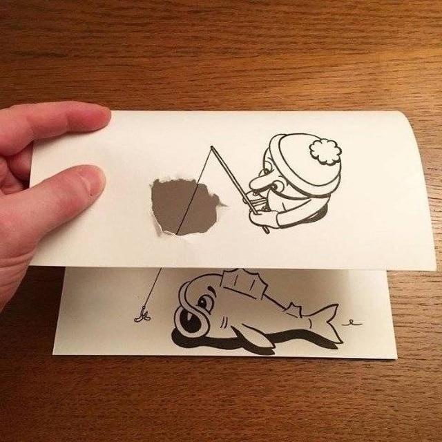 рисунок рыбака и рыбы