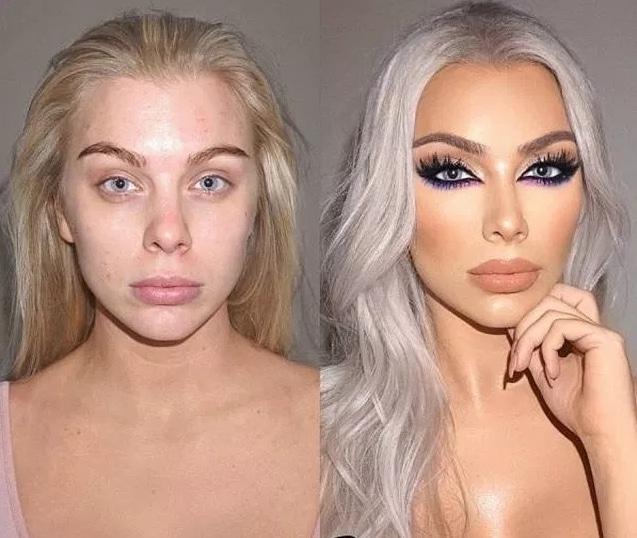 блондинка с макияжем и без