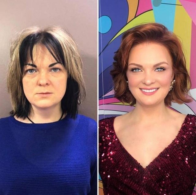 женщина до и после макияжа