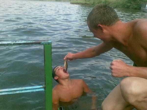 парень кормит друга сырой рыбой в воде