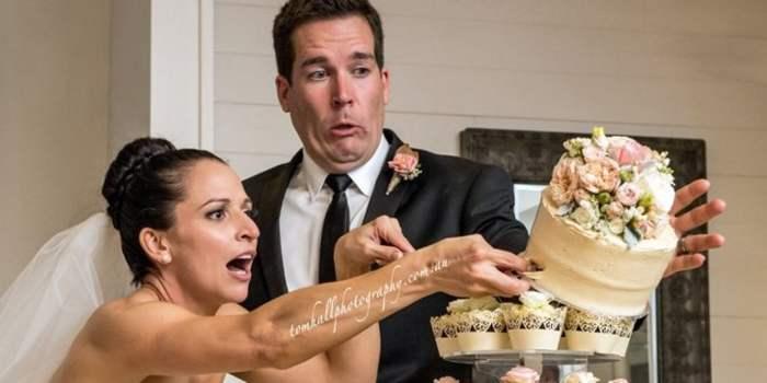 невеста роняет торт
