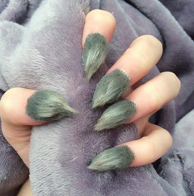 зеленые меховые ногти