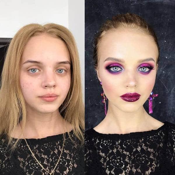 девушка с косметикой и без