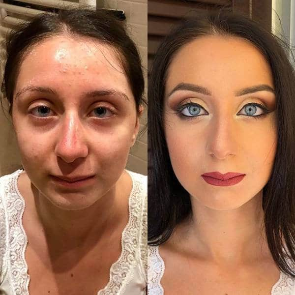 брюнетка с макияжем и без