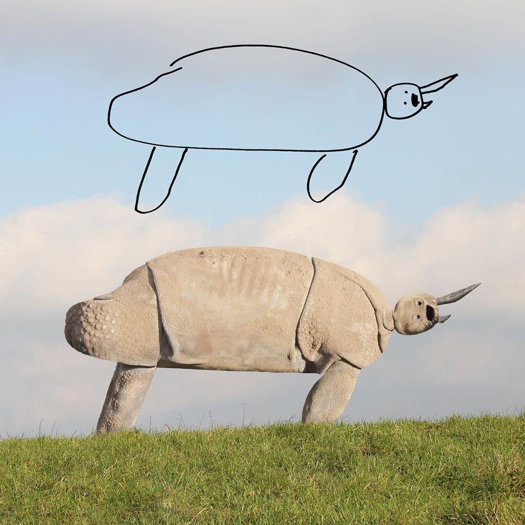 рисунок носорога