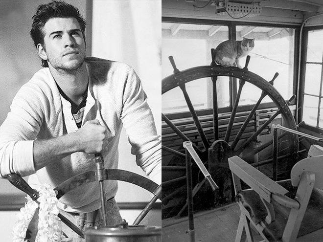 парень и кот на корабле