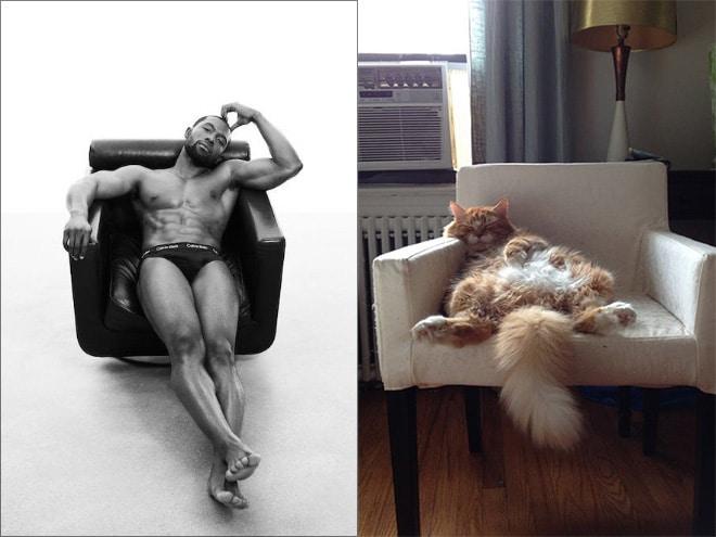 мужчина и кот сидят в кресле